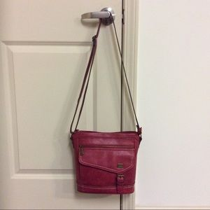 B.O.C. RED FAUX LEATHER SHOULDER BAG/CROSSBODY EUC